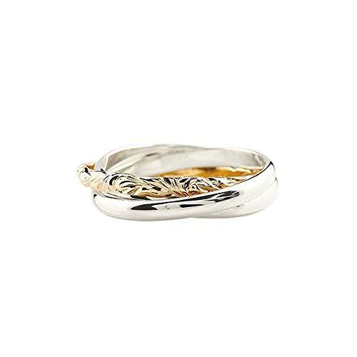 [アトラス]Atrus リング レディース ハワイアンジュエリー pt900 18金 プラチナ ピンクゴールドk18 3連リング 甲丸 指輪 10号