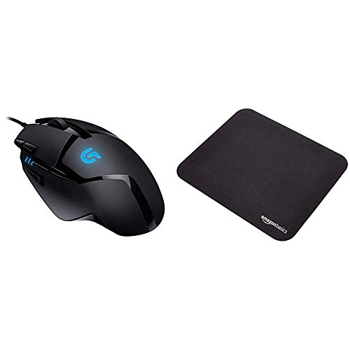 Logitech G402 Souris GamingHyperionFury Noir (910-004068) & Amazon Basics Mini Tapis de Souris Gaming