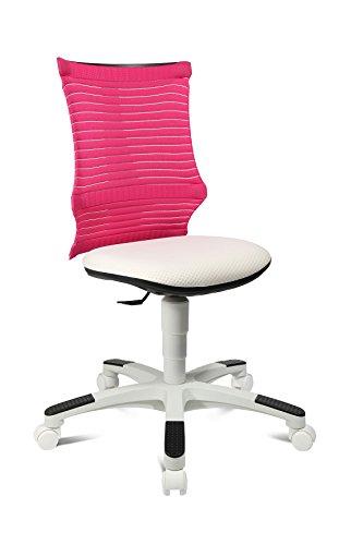 Topstar S'Neaker, mitwachsender Kinder-und Jugenddrehstuhl, Schreibtischstuhl für Kinder, Stoff, Rosa/Weiß