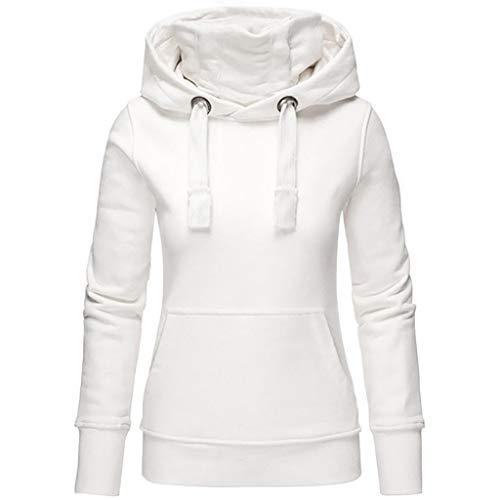 Hoodie Sweatshirt Damen Frauen Kapuzenpullover mit Hohem Kragen Warm Hoody Langarm Winter Einfarbig Pullover Oberteile Pulli Oversize