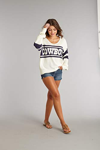 Dallas Cowboys NFL Damen Pullover Stripe, Damen, Stripe Sweater, WHT/NVY, Small