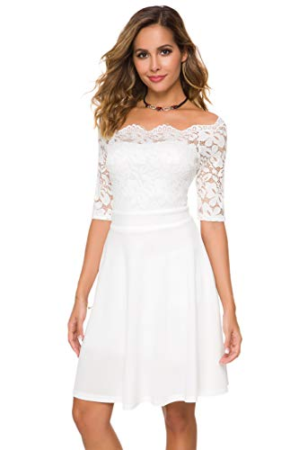 Womens Vintage Lace Off Shoulder Puffy Swing Dresses Sexy Mini Dress for Party Cocktail,Swing-White,M