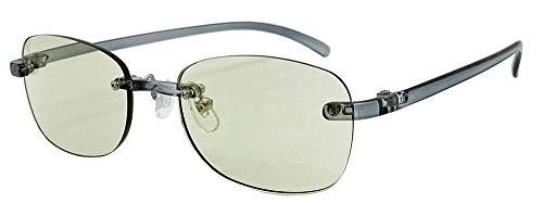 (フェイストリックグラッシーズ) オシャレで軽い老眼鏡 UV/近赤外線/ブルーライトカット鯖江メーカー高性能レンズ老眼鏡 クリアグレーフレーム/ライトグリーンレンズ FTR02-1LG +2.00