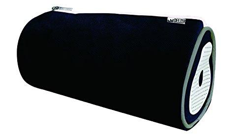 DEEZER Fourre-Tout Rond avec Enceinte 22x7cm à Fermeture Eclair Polyester Noir