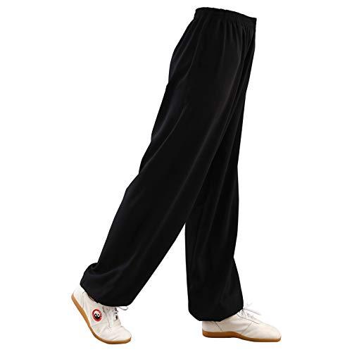 Womens Martial Arts Broek Tai Chi Broek Mens Kung Fu Katoen Broek Yoga Lantaarn Broek Joggers Broek Plus Grootte Breed Been,Zwart-