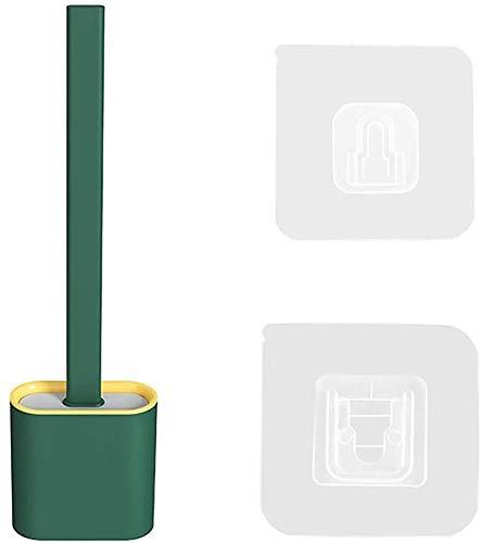 ブラシとホルダーセットクリエイティブシリコーンクリーニングブラシセットソフト隙間ブラシシリコンブリスルロングハンドルバスルームキットコーナーの掃除が簡単 (緑)