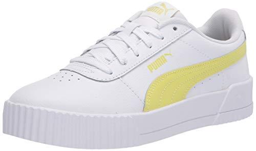 PUMA Women's Carina Sneaker, White-Sunny Lime-Sunny Lime, 8.5 M US