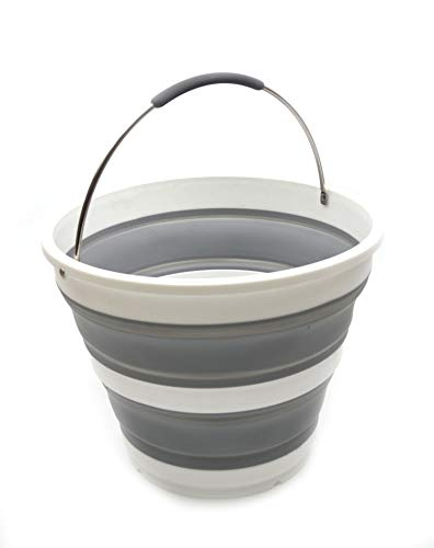 SAMMART Cubo plegable de plastico – Banera redonda plegable – Cubo de agua portatil para pesca – Hervidor de agua para exteriores que ahorra espacio – Diametro 31 cm (gris)