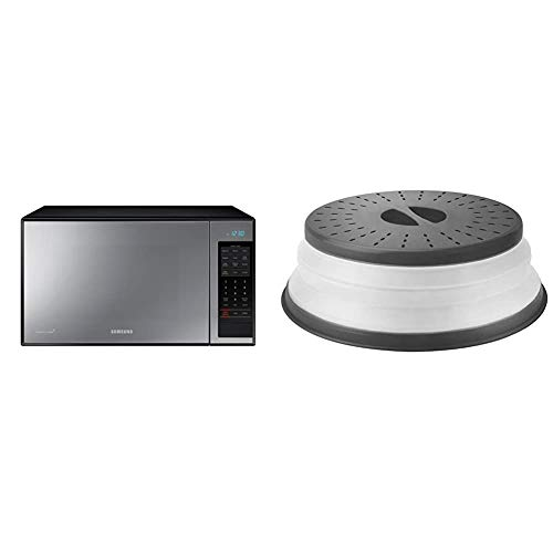 """Samsung 1.4 cu. ft. Countertop Grill Microwave Oven, Ceramic Enamel Interior, Black Mirror & Tovolo Vented Collapsible Microwave Splatter Proof Food Plate Cover, 10.5"""" Round, 10.5 inch, Charcoal"""