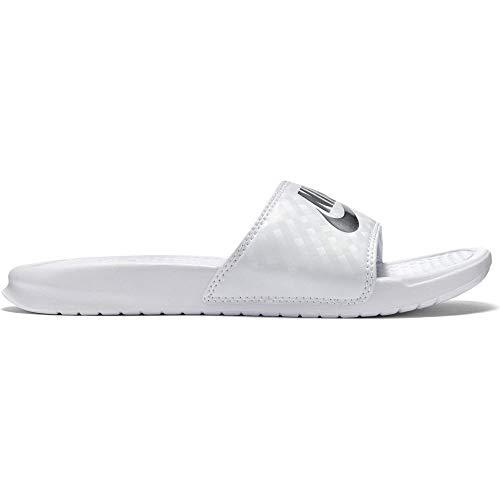 Nike Women's Benassi Just Do It Sandal, White/Metallic Silver, 7 Regular US