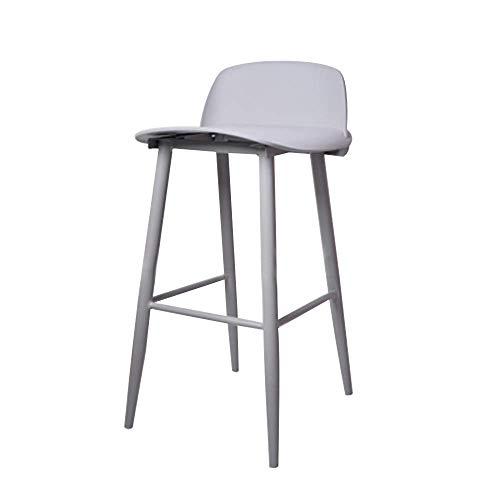 WBDZ Barhocker Metall Barhocker Embedded Kunststoff Rückenlehne Küche Restaurant Bar Stuhl mit Fußstütze Eisen Hochstuhl für Bistro Coffee Shop (Farbe: Grau, Größe: 17,3'* 20' * 29,5')