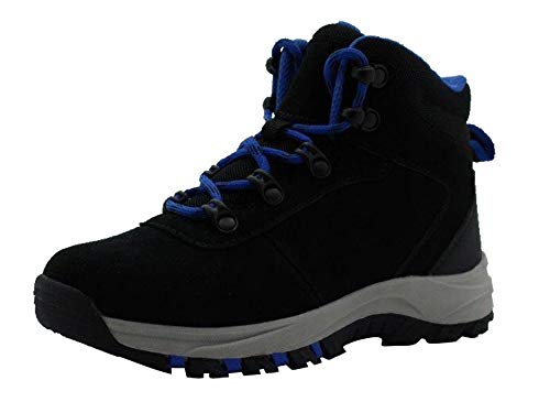 Amazon Essentials Kids' Round Toe Boot Hiking Shoe, Black, 4 Medium US Big Kid