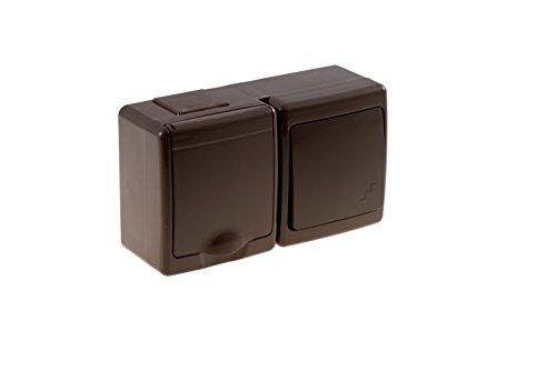 Wechselschalter/Steckdose Kombination mit Klappdeckel Aufputz IP44 braun
