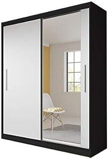 MEUBLO Armoire, Penderie avec 2 Portes coulissantes (L x H x P): 183x218x61 TESS (Noir + Blanc)
