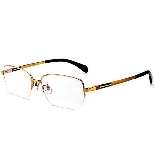 MKKSLR Anti-Blau-Lesebrille, hochwertige Herrenmode Progressive Multifocal Nah- und Fern-HD-Mehrzweck-HD-Brille, ultraleichte Lesegeräte Smart Zoom Pure Titanium Frame, Gold