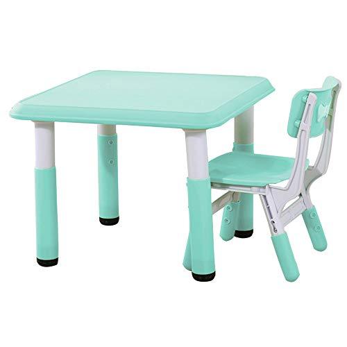 SSHHM Multifunktionaler Tisch und Stuhl,Höhenverstellbar,Kindertisch Und Lernen Tisch,Die Ideale Ausbildung Geschenk Sicherheit/Grün/table+chair