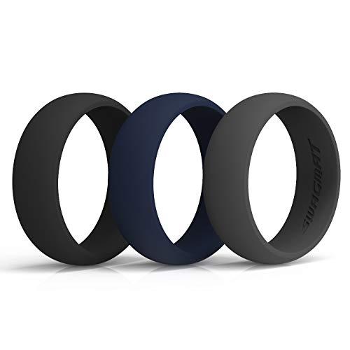 Alianzas de silicona para hombre, 8,7 mm de ancho, 2 mm de grosor, 3 unidades, color negro, gris y blanco, 10, Mine Shaft Black, Emperor Gray, Cloud Burst Blue