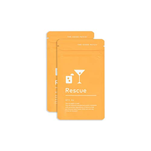 The Good Patch Rescue Patch for a Night Out. Complete with B1, B Complex and Green Tea Extract. Plant Based (2 Pack) (8 Patches)