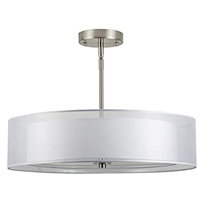 Linea di Liara Grazia 20-Inch Three-Light Double Drum Convertible Ceiling Fixture with a Fabric Shade