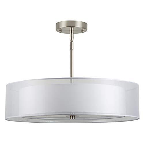 Grazia 20 inch 3 Light Drum Chandelier Ceiling Light - Brushed Nickel - Linea di Liara LL-P117-BN