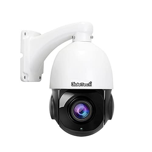 20X Zoom Telecamera POE Esterno PTZ,JideTech HD 5MP Dome IP Videocamera,Pan 360°Tilt 90°Con rilevamento del movimento di visione notturna IR,slot per schede SD,Impermeabile IP66