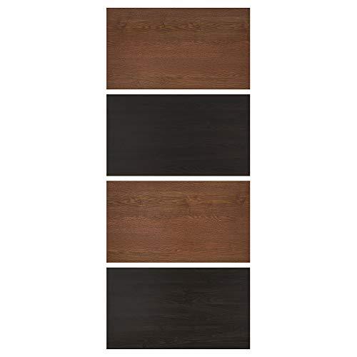 MEHAMN fyra paneler för skjutdörr 100 x 236 cm svartbrunmålad askeffekt/brunfärgad askeffekt