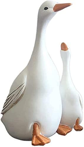 Estatua de resina de pato de madre e hijo, adorno de jardín de pato blanco, adorno de regalo para decoración de jardín, patio, césped