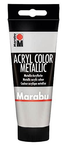 Marabu 12010050082 - Acryl Color silber 100 ml, cremige Acrylfarbe auf Wasserbasis, schnell trocknend, lichtecht, wasserfest, zum Auftragen mit Pinsel und Schwamm auf Leinwand, Papier und Holz