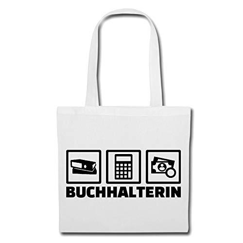 Tasche Umhängetasche BUCHHALTERIN - BUCHHALTER - BUCHHALTUNG - FINANZBUCHHALTUNG - FINANZAMT Einkaufstasche Schulbeutel Turnbeutel in Weiß
