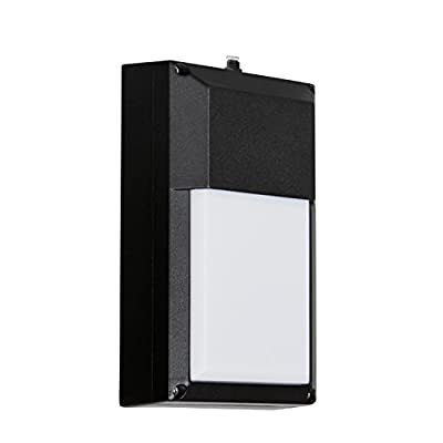 Outdoor LED Wall Pack Fixture with Dusk to Dawn Photocell Sensor, 9W (60W Equivalent), 850 Output Lumens (Lumens Fixture 500), 3000K Soft White, Waterproof, ES and ETL Certified, Black Finish, 2 Pack