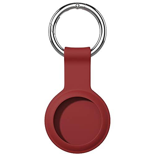 AWINNER Kompatibel mit AirTag-Hülle, Schlüsselanhänger, Silikon-Schutzhülle, sicherer Halter mit Schlüsselring (rot)