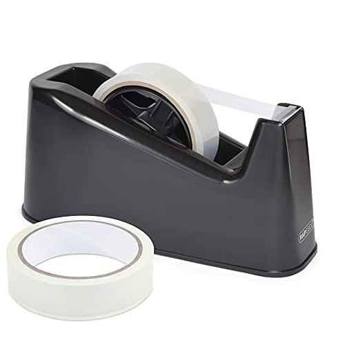 Rapesco 1540 500 Dispensador de Cinta Adhesiva Grande mas 2 Rollos, Color Negro