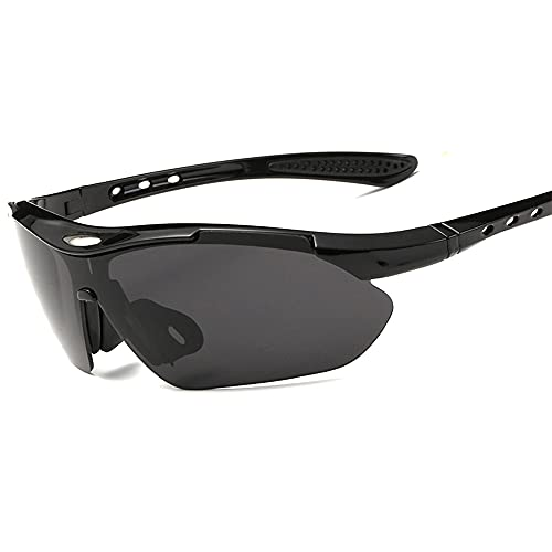IWILCS Gafas de Sol Polarizadas, Gafas Deportivas 5 Lentes Intercambiables, Gafas de Ciclismo para Hombres y Mujeres, Carrera de béisbol, Escalada, Golf (Negro)
