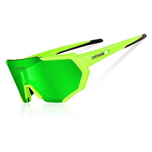 Queshark Radbrille Polarisierte Sportbrille Fahrradbrille mit UV-Schutz 3 Wechselgläser für Herren Damen, für Outdooraktivitäten wie Radfahren Laufen Klettern Autofahren Angeln Golf (Grün)