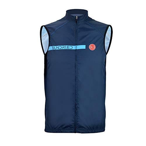 Sundried Pro Cycling Chaleco Impermeable Ligera Chaleco de Ciclismo Deporte Chaleco de Ciclismo y Carrera (Azul, M)