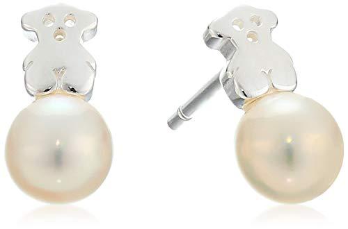 TOUS Puppies - Pendientes con Motivo de Oso de Plata de Primera Ley y Perlas, Cierre a Presión - Perlas de 0,6 cm, Motivo: 1 cm