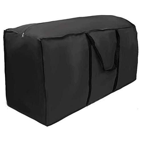 SANGSHI Bolsa de almacenamiento, funda protectora de tela Oxford negra, gruesa e impermeable, para guardar cojines, ropa, ropa de cama, mantas, almohadas, colchas, cojines de jardín