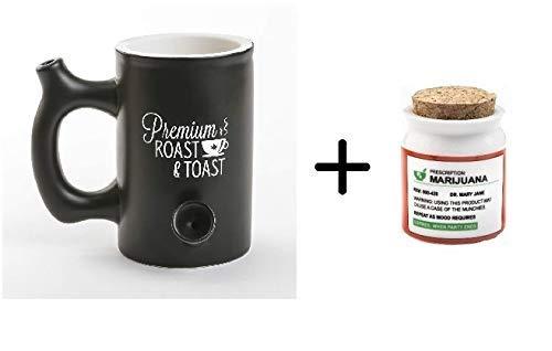 Black Roast & Toast Mug + Small Prescription Stash Jar