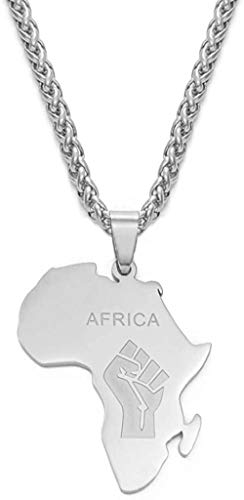 quanjiafu Necklace African Map Fist Symbol Pendant Necklaces Silver Color Africa Maps Black Lives Matter Chains Jewelry 60Cm