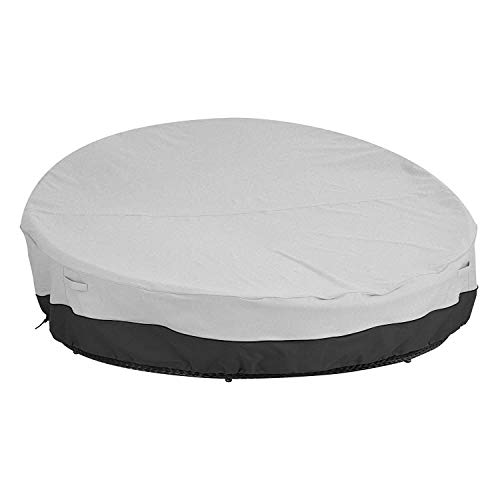 Patio Round Daybed Cover Waterproof Round Garden Furniture Set Cover Breathable Oxford Fabric Outdoor Protective Cover for Rattan Day Bed Sofa Grey&Black 223x216x40/90cm