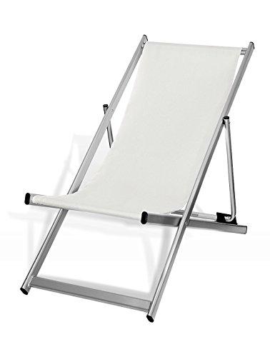MultiBrands Liegestuhl, klappbar, Aluminium, Sitzbezug Weiß, Silber lackiert