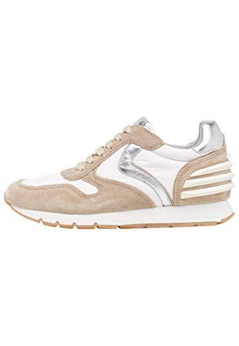 Julia Power-Sneakers - Visillo blanco de ante vintage con detalles plateados, Beige...