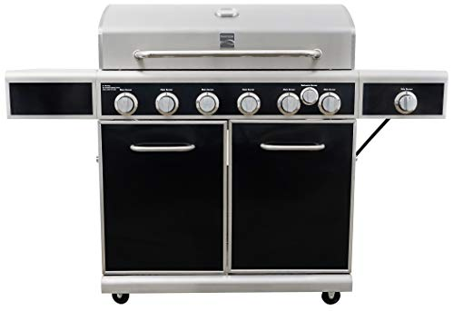 Kenmore PG-40602SRL-AM 6 Grill w Burner, Silk Screen Control Panel, Side Shelves, Black and Stainless Steel 10% Burners Gas Grill Grills Kenmore on Save