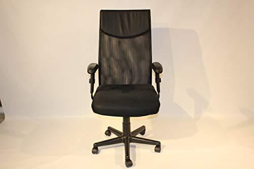 Bureaustoel zwart met hoge rug, verstelbare armsteunen, in hoogte verstelbaar, 5 zwenkwielen, 61 x 115 x 53 cm