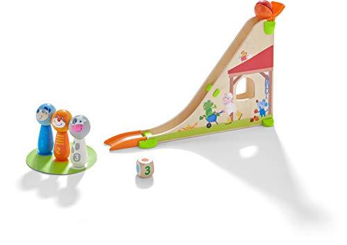 HABA 305414 - Kullerbü – Kugelbahn Kegelfarm, Kugelbahn aus Holz mit Kugelrampe, Klangkugel, Spielwürfel und Kegel-Figuren, Holzspielzeug ab 2 Jahren