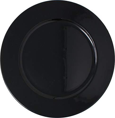 Metallic Foil Charger Plates - Set of 6 - Made of Thick Plastic - Black