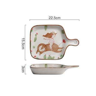 Cartoon Keramik Backblech Backofen mit Griffplatte Home kreative Backen gebackenen Reis Teller Geschirr Frühstück Teller (Cartoon Teller)