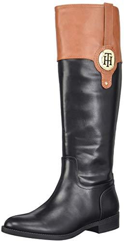 Price comparison product image Tommy Hilfiger Women's IVANE Equestrian Boot,  Black / Tan,  7.5 M US