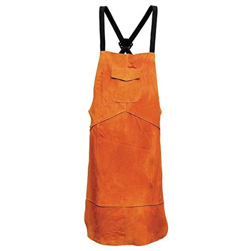 Delantal de cuero para soldar, talla única, color amarillo, resistente al calor y al fuego, con correas ajustables y hebilla de liberación rápida para hombres y mujeres 70*100cm