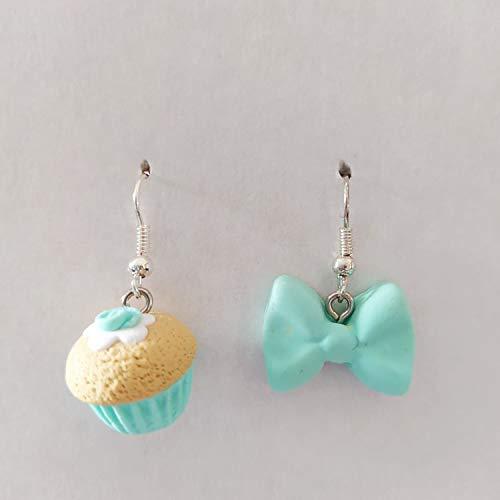 Orecchini Fimo Cupcake e Fiocco color Tiffany